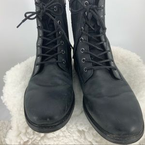 Express black leather and suede Moto boot …